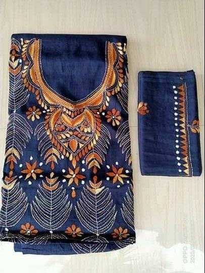 Women's Handloom Cotton Kantha Stich Churidar Piece With Duptta (14)