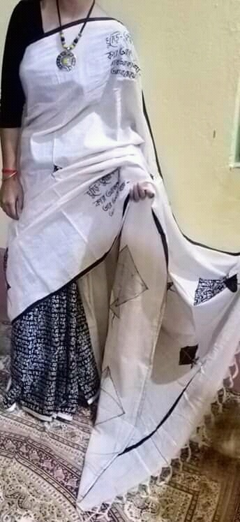 Woman's Handloom Cotton Applic Saree 3