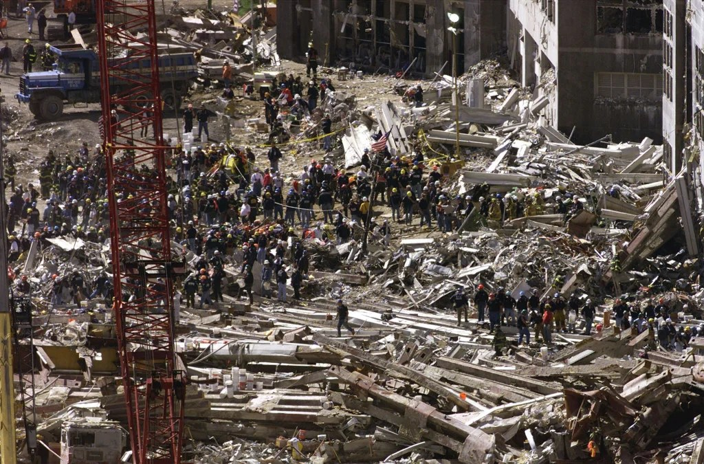Rescue workers continue their search for survivors on the rubble of the destroyed World Trade Center in New York, September 15, 2001. (Photo: REUTERS/Jeff Christensen/Newscom).