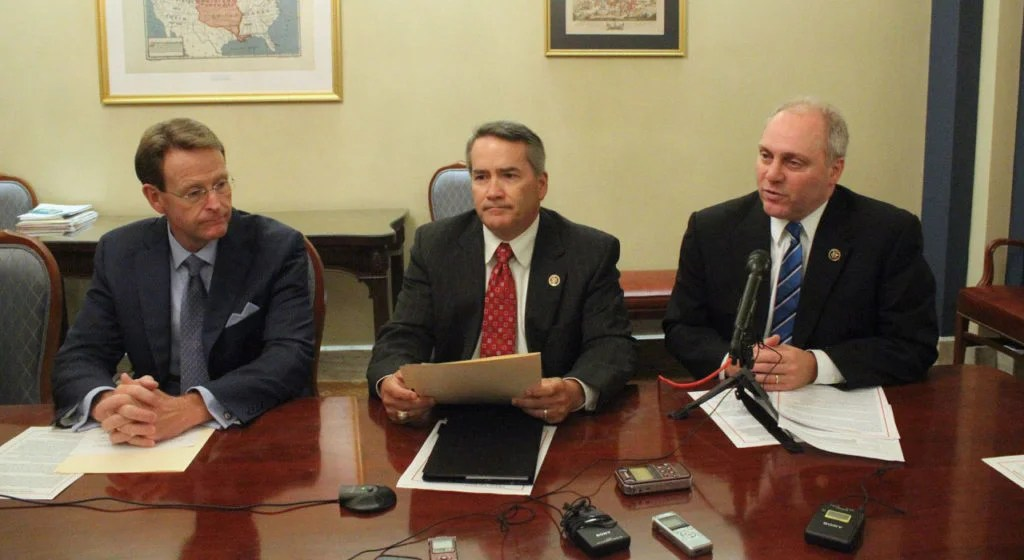 Family Research Council President Tony Perkins, Rep. Jody Hice, and House Majority Whip Steve Scalise speak about the Free Speech Fairness Act at a press conference, Sept. 28, 2016. (Photo: Courtesy of Penny Starr/CNS News)