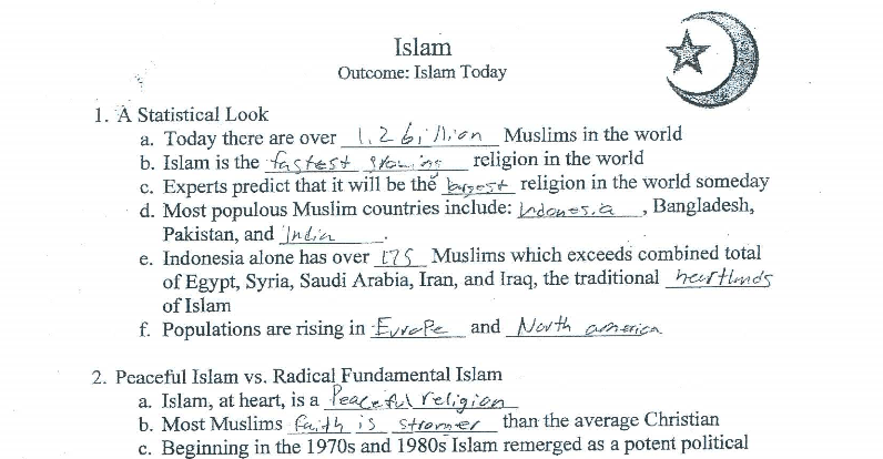 Porter Ridge High School in-class worksheet about Islam