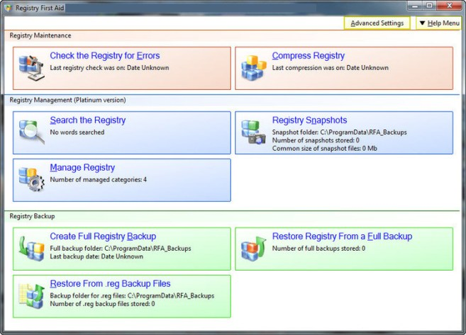 Registry First Aid Platinum windows