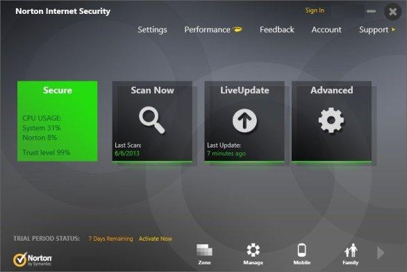 Norton Internet Security windows