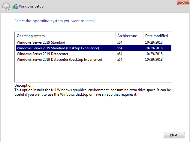 Windows Server 2019 Installation and new features