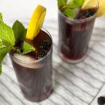 blackberry iced tea with lemon and mint