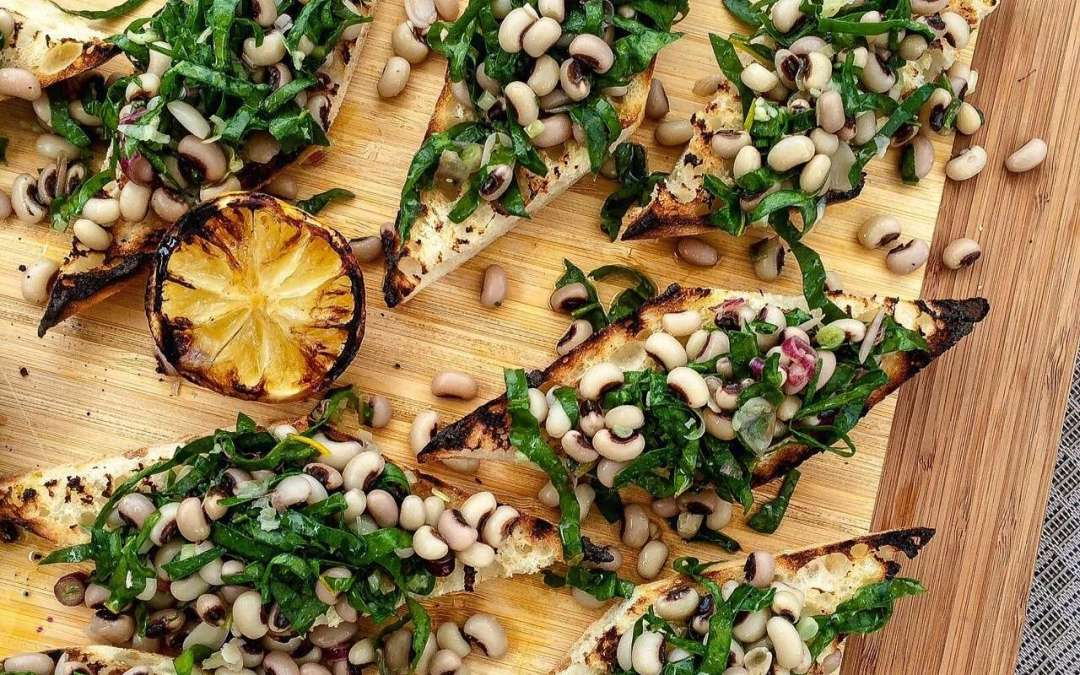 Farm to Table: Swiss Chard + Yellow Swiss Chard and Black Eye Pea Grilled Bruschetta Recipe