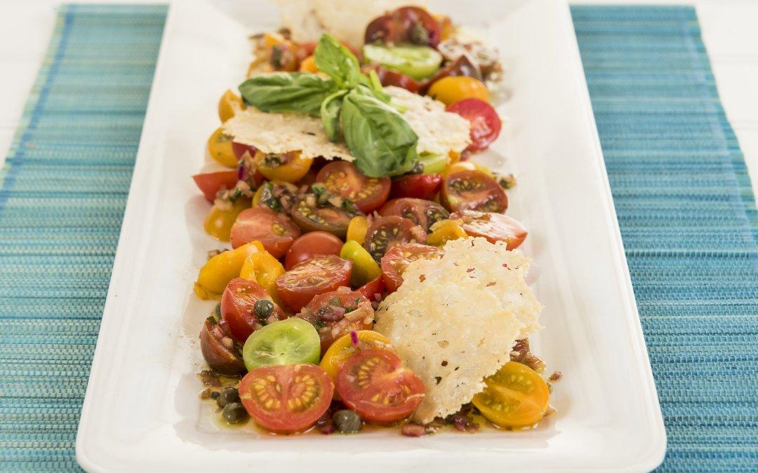 Heirloom Tomato Salad in a balsamic caper vinaigrette with Parmigiano Crisps