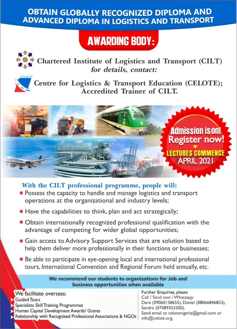 Obtain globally recognized diploma and advanced diploma in Logistics and Transport