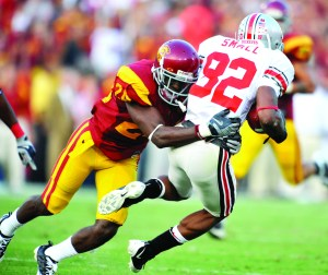 Academic problems · Cornerback Shareece Wright (left) would have figured prominently into Pete Carroll's defensive back rotation. - Photo courtesy of USC Sports Information