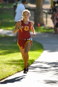Ready to run · Back in action for the Women of Troy is senior captain Bridget Helgerson, who looks to help USC improve on last week's times. -  Photo courtesy of USC Sports Information