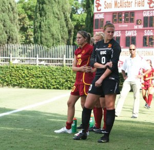 Foul play · Goalie Kristin Olsen disputed the red card ruling. - Carlo Acenas | Daily Trojan