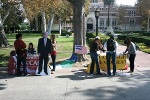 Politicking · Students table on Trousdale Parkway for  candidates during the 2008 presidential elections. USC's campus has seen a drop in political activity since then. - Mike Lee | Daily Trojan
