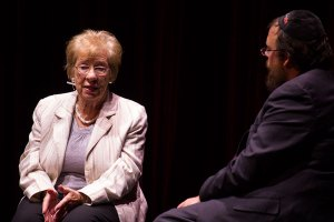 Holocaust survivor · Eve Schloss discusses the Holocaust experience  to a packed audience of students in Bovard Auditorium. - Joseph Chen | Daily Trojan