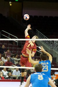Spiking it ·Junior Tanner Jansen finished with eight kills in USC's straight-set victory over the top-ranked UC Irvine Anteaters on Jan. 11. He has 13 kills on the season entering Friday's match against Stanford. - Ralf Cheung | Daily Trojan