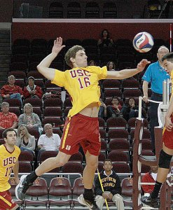 Making strides · Sophomore Robert Feathers (above) and the Trojans notched their first victory since a 3-0 defeat over Stanford on Jan. 18. - Sarah Wu | Daily Trojan