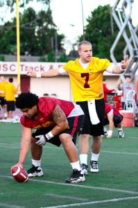 Make an impression · Quarterback Matt Barkley was the main focus of scouts, who are trying to determine if he's worthy of a first-round pick. - Daily Trojan File Photo