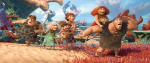 """Caveman rock · A prehistoric family embarks on the world´s first family road trip in The Croods. Once the Croods are out of their cave, their uncivilized natures become pronounced. Be sure to catch the Trojan Marching Band in the opening sequence performing a remix of, what else, """"Tusk."""" - Courtesy of 2013 DreamWorks Animation LLC"""
