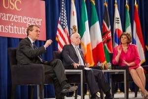 Looking ahead · Sen. Michael Bennet (left to right), Sen. John McCain and ABC News Radio correspondent Ann Compton discuss immigration reform with USC students and faculty on Tuesday at the USC Schwarzenegger Institute's bipartisan summit. - Ralf Cheung   Daily Trojan