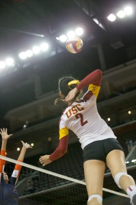 On the attack · Sophomore outside hitter Samantha Bricio notched a team-leading 12 kills in USC's 3-0 victory over Cal State Fullerton. - Ralf Cheung | Daily Trojan