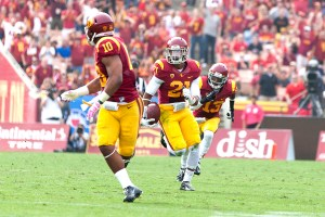 Bittersweet · In the second quarter, freshman safety Su'a Cravens returned an interception 54 yards but suffered an injury on the play. - Ralf Cheung | Daily Trojan