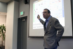 Technological takeover · University of Pennsylvania professor Joseph Turow spoke about how in-store media has affected sales and revenues on Monday. - Jessica Zhou | Daily Trojan
