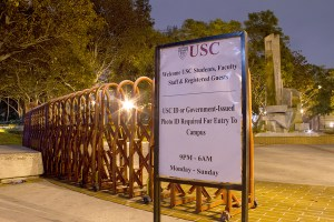 Barriers · Erected in January 2013, the fencing surrounding the university's campus has been the subject of controversy.  Some students believe the gates symbolically represent barriers between USC and the community. - Austin Vogel | Daily Trojan