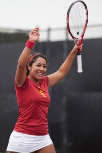 Second chance · Junior Sabrina Santamaria, the 17th-ranked singles player in the nation, defeated No. 6 Jenny Julien of St. Mary's yesterday. - Ralf Cheung | Daily Trojan