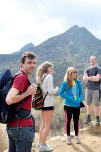 "Into the Wild · Professor Brian Bernards (left) hikes with students at Malibu Creek State park as part of the new club, ""Peaks and Professors."" - Courtesy of Jack Koppa"