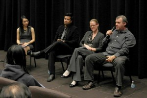 Visionaries · (Left to right) Moderator Michelle Lau and panelists iEmpathize Southern California branch coordinator Guido Hajenius, USC international relations lecturer Jessica Peet and screenwriter Richard Phillips Jr. discussed the seriousness of human trafficking and how it should be addressed in the world today. - Christine Yoo | Daily Trojan