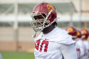 Fitting in · Resdhirt junior defensive lineman Claude Pelon has shown rapid improvement over the course of spring practice. The transfer from La Mesa Community College in Mesa, Ariz. will fight for a starting spot in 2014. - Ralf Cheung | Daily Trojan