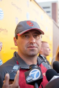 Home grown · Head coach Steve Sarkisian places special emphasis on local talent — 15 of his 19 recruits this year were from Southern California. - Ralf Cheung | Daily Trojan