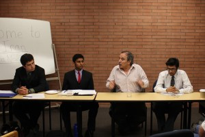 Tension · Panelist Muhammad Sahimi (second to right), discussed the tenuous relationship between the United States and Iran. - Kevin Fohrer   Daily Trojan