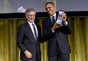 Shoah Foundation Founder Steven Spielberg presents President Barack Obama with the Ambassador for Humanity award. — Photo courtesy of Josh Grossberg