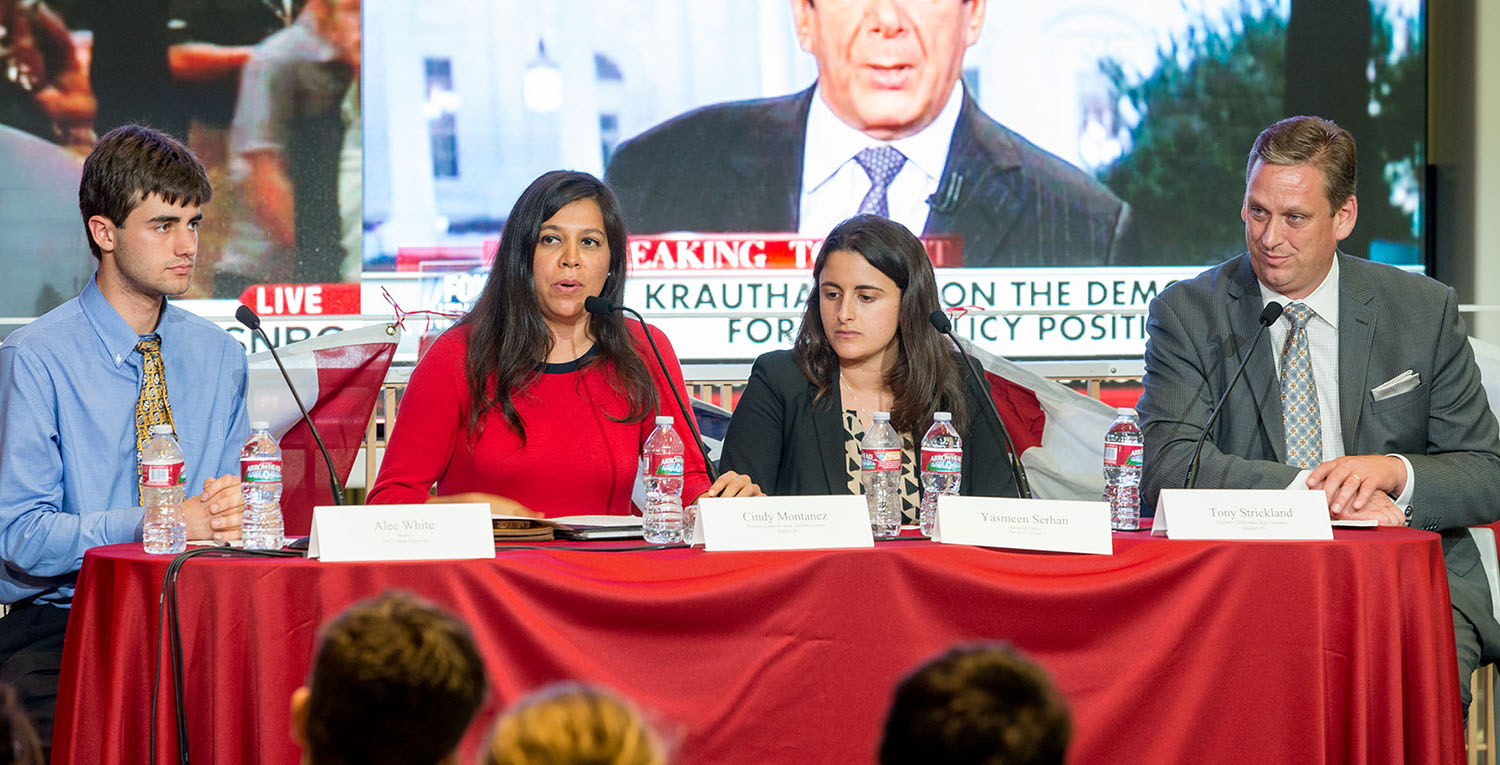 Feelin' blue · Panelists discuss the first democratic primary debate following a live viewing Tuesday evening in Wallis Annenberg Hall. From left to right: Alec White, former president of the USC College Democrats; Cindy Montañez, former California Assemblywoman; Yasmeen Serhan, Daily Trojan managing editor and Tony Strickland, former California State Senator. - Tal Volk | Daily Trojan