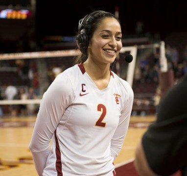 Hitting a milestone · During her career, senior outside hitter Samantha Bricio has been a part of 93 of head coach Mick Haley's 899 NCAA Division I women's volleyball victories. He seeks to become just the third to reach 900. - Mariya Dondonyan | Daily Trojan
