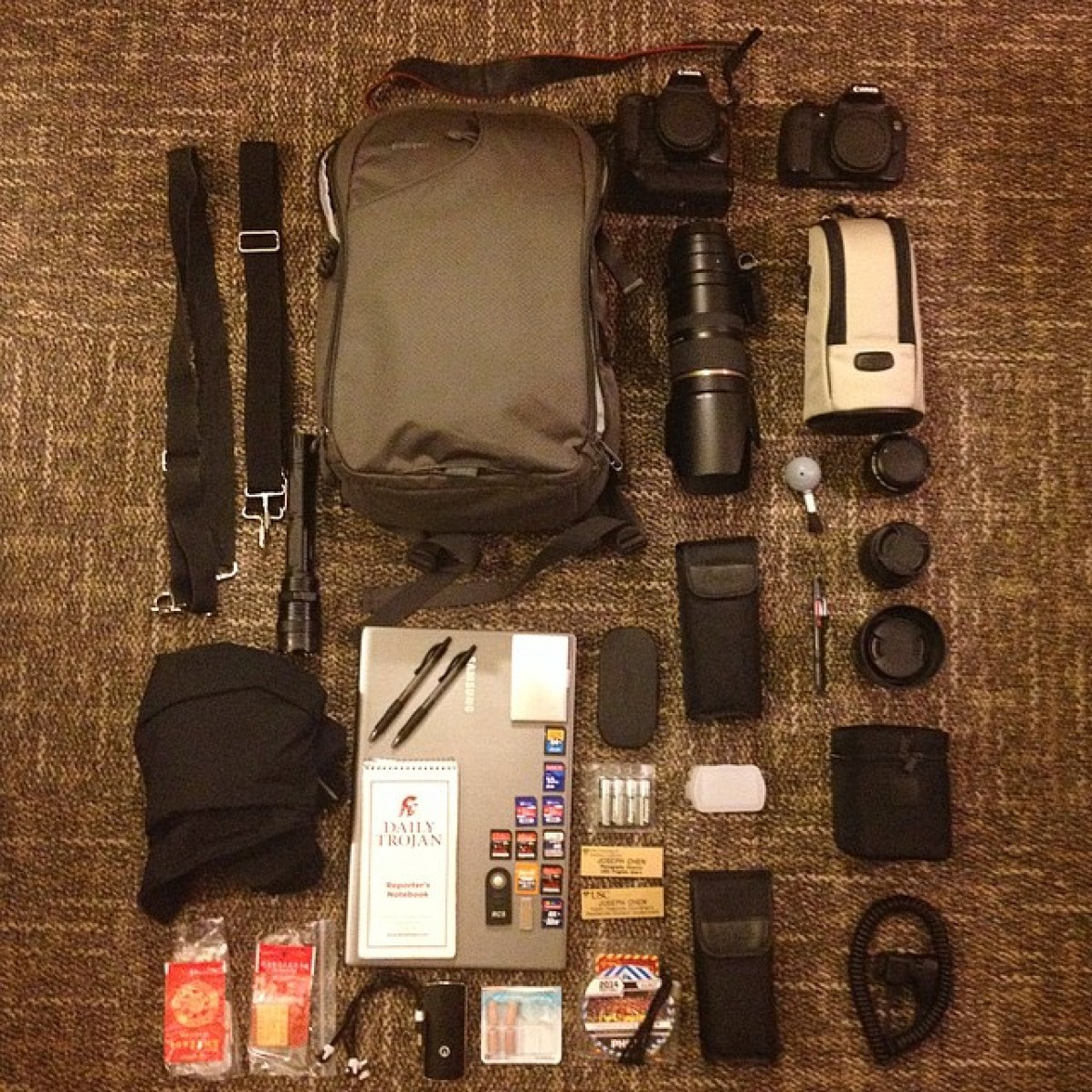 The typical camera bag for your local, insane, photographer.