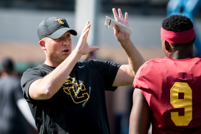 Brian Chin | Daily Trojan · After starting his first full season as head coach 1-3, Clay Helton is under fire from critics who say he isn't the right coach for the job. Now Helton is preparing the Trojans to face ASU Saturday.