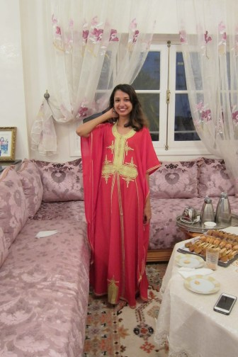 Wearing a traditional moroccan dress, called a gandora.