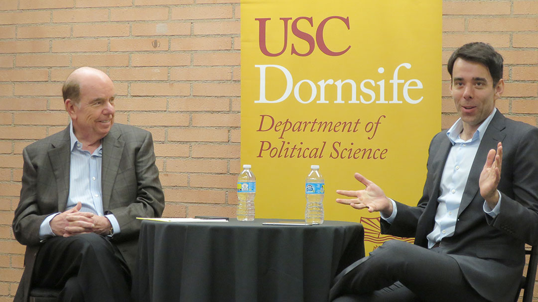 Photo courtesy of Yaminah McKessey  Toward Trump · Professor Bob Shrum (left) and Southern California News Group editor Brian Calle (right) spoke on Trump's politics Tuesday.