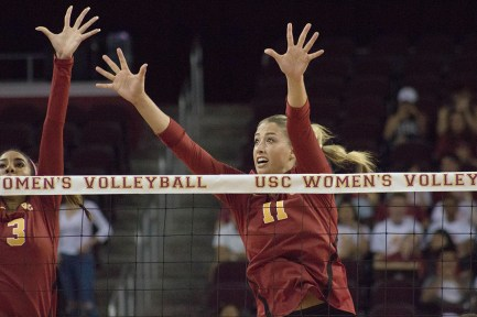 Rocky Mountain high · Junior outside hitter Niki Withers (3) and senior middle blocker Elise Ruddins have been critical players this season, said head coach Mick Haley ahead of a Wednesday match against ASU.