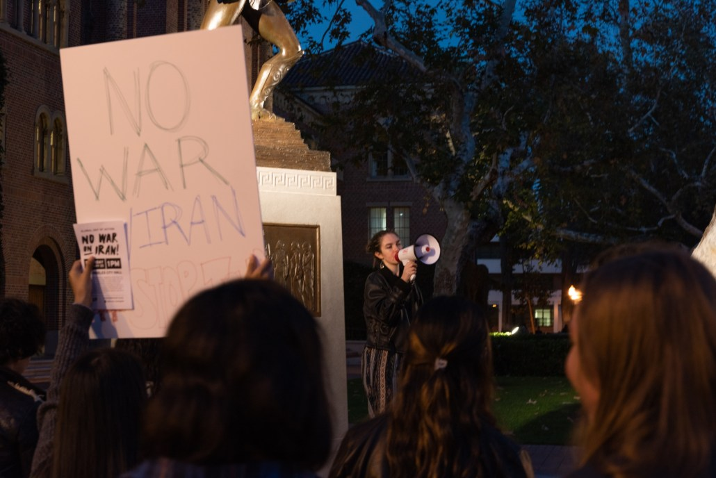 """Jessica O'Connor, vice president of Trojan Advocates for Political Progress, led chants of 'No justice, no peace, U.S. out of the Middle East.'"""""""