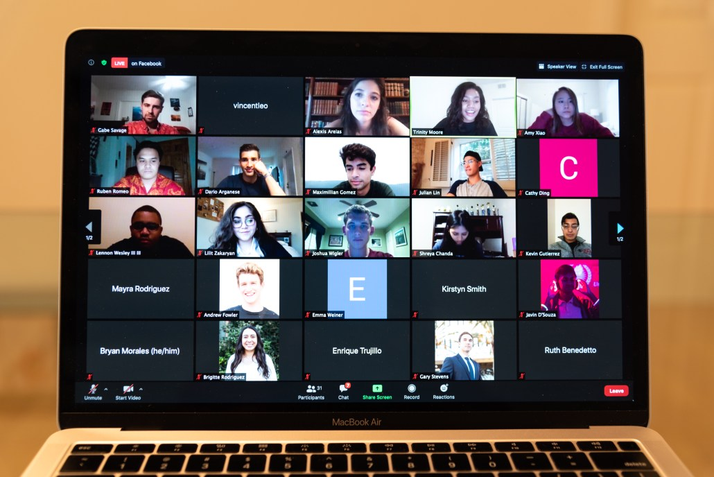 An image of a Macbook Air screen displaying the weekly senator meeting held over Zoom. There are a total of 25 attendee icons shown.