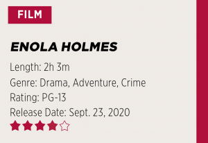 "Design showing the title of the film, ""Enola Holmes,"" along with a two hour and three minute runtime, genres of drama, adventure and crime, a PG-13 rating, Sept. 23, 2020 release date and four-star review."