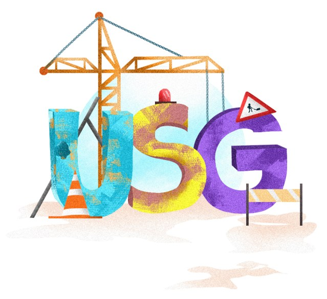 "This is a design that shows the letters ""USG"" in different colors within a construction site."