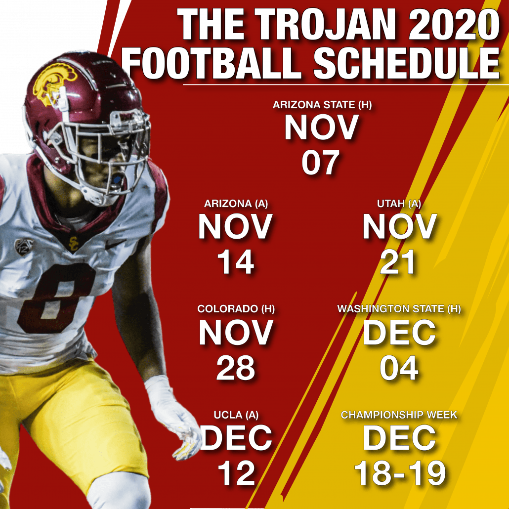Graphic of the Trojan 2020 football schedule.