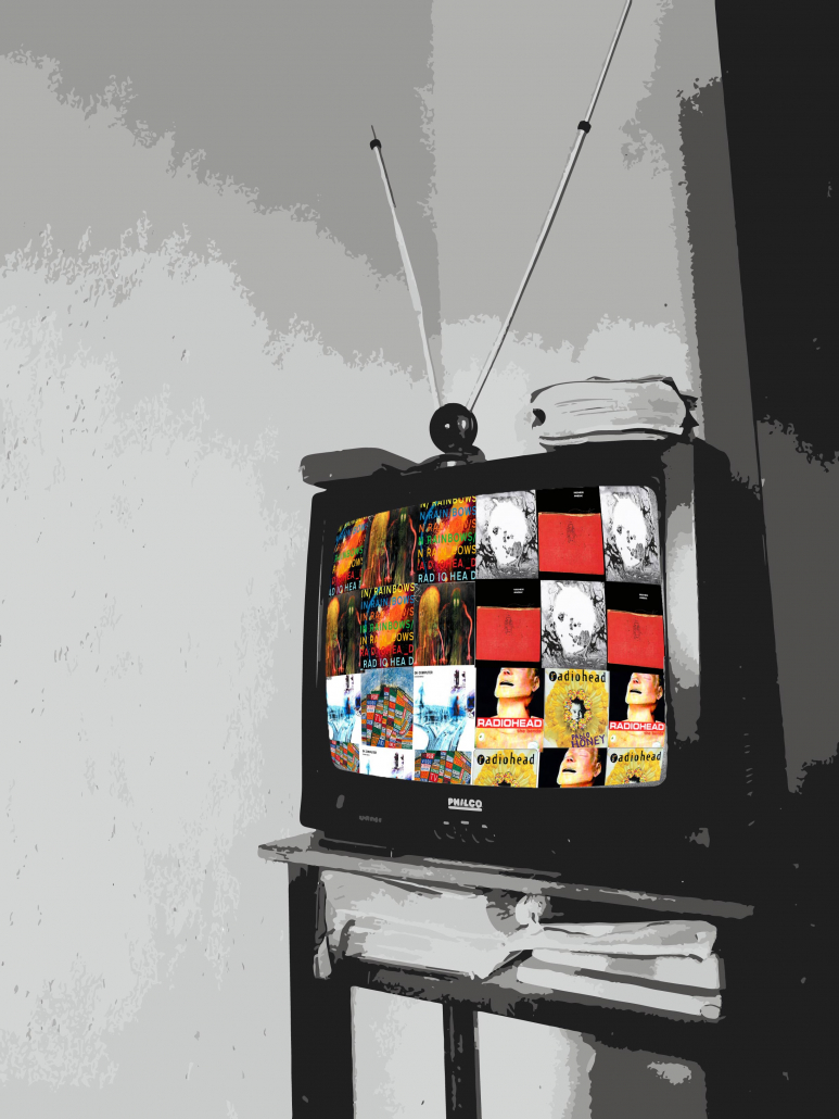A television screen filled with a collage of Radiohead album covers.