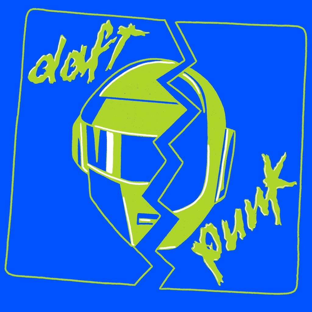 Blue and lime green art of Daft Punk's helmets.