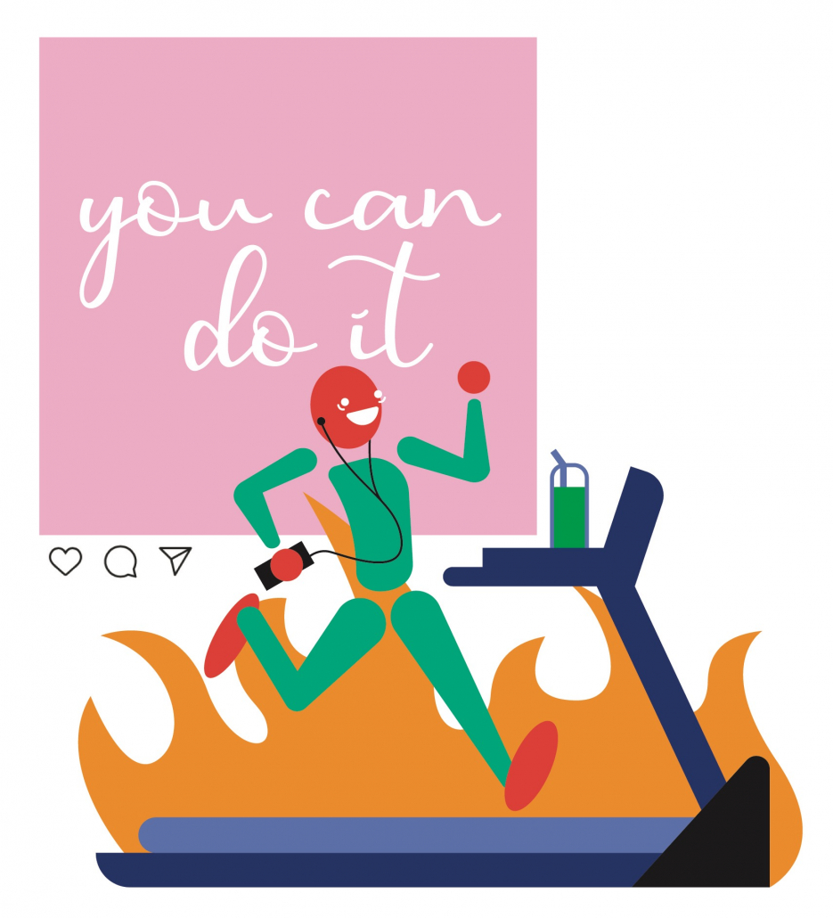 """A person is running on a treadmill with flames behind them and a giant pink sign that reads """"You can do it!"""""""