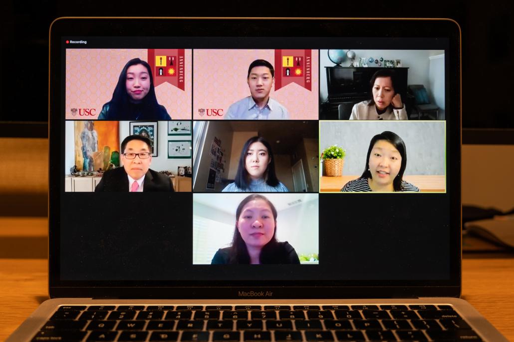 Laptop open to a Zoom call. Pictured are Connie Deng, Nathan Hyun, Anh Do, Joyce Jang, Jon Funabiki, Dr. Sherry Wang and Christina Yang.