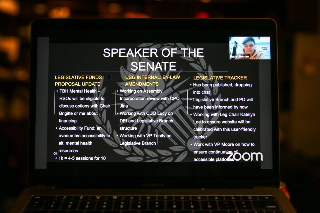 "Laptop open to screen that says ""Speaker of the Senate,"" with Senator Ruben Romeo's initiatives listed."